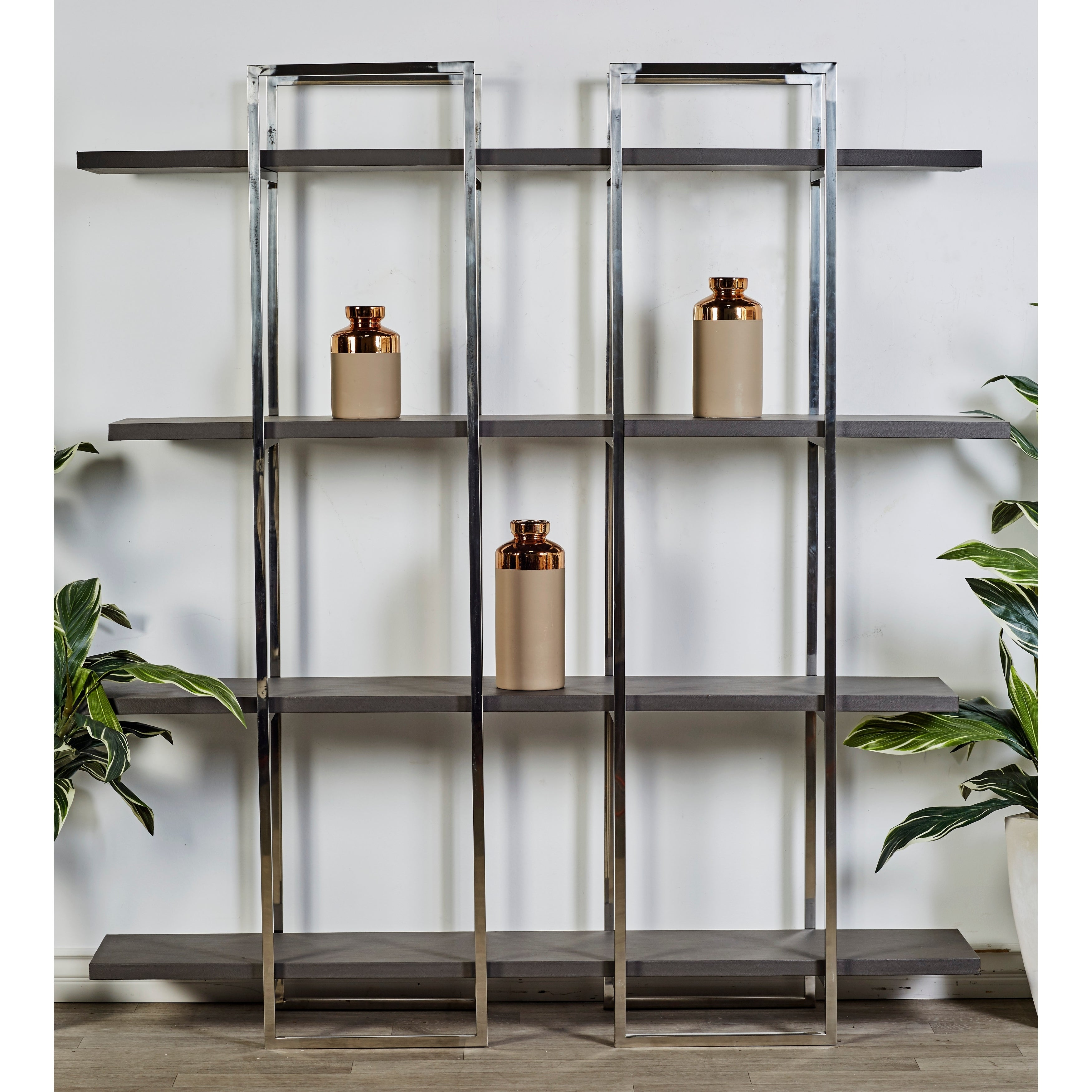 Studio 350 Wood Stainless Steel Leather Shelf 63 inches w...