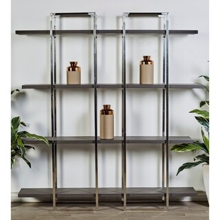 "63"" x 69"" Contemporary 4-Tier Wood and Stainless Steel Shelf by Studio 350"