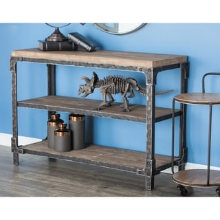 Rustic 34 x 48 Inch Rectangular Three-Tier Console Table by Studio 350