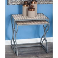 Studio 350 Metal Wood Nesting Table Set of 3, 19 inches ,21 inches ,23 inches high