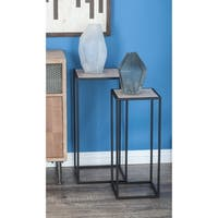 Studio 350 Metal Wood Square Pedestal Set of 2, 25 inches, 28 inches high