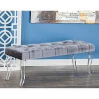 Contemporary Gray Wood and Acrylic Velour Bench by Studio 350
