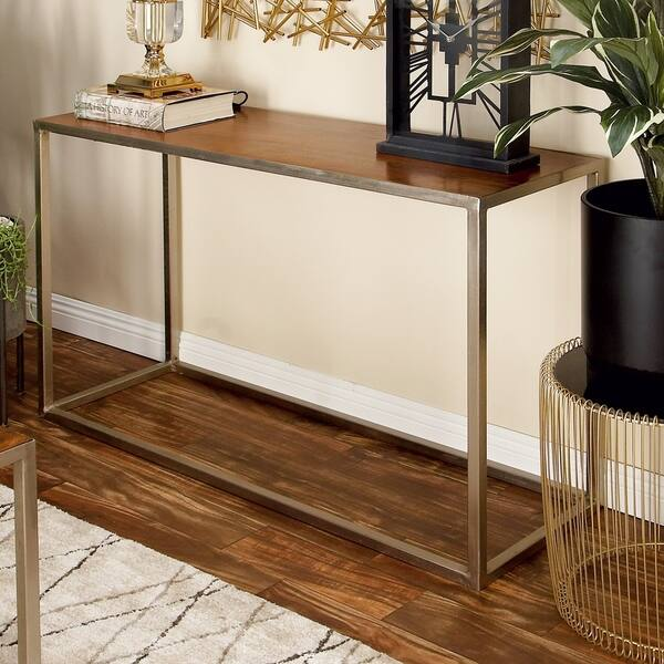 Metal Wood Console Table 48 Inches Wide