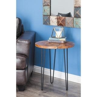 Modern 23 x 19 Inch Round Teak Wood End Table by Studio 350