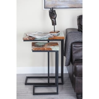 Studio 350 Teak Metal Resin Table Set of 2, 23 inches, 25 inches high