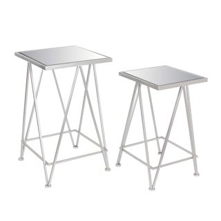 Studio 350 Metal Mirror Side Tables Set of 2, 22 inches, 25 inches high