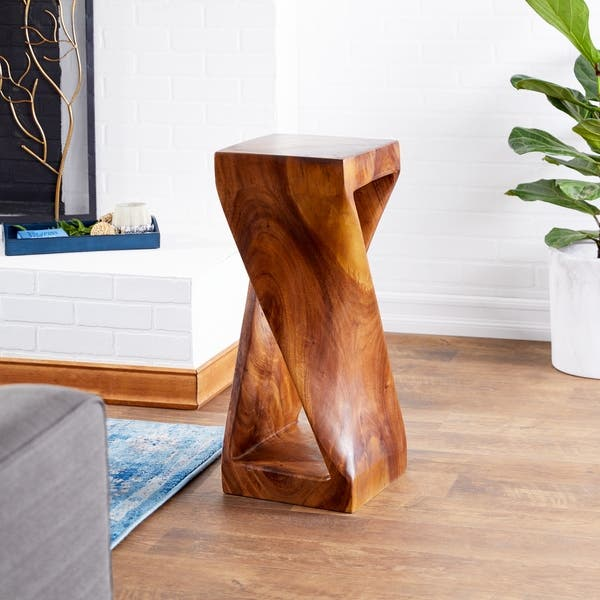 Brown Twisted Wooden Side Table