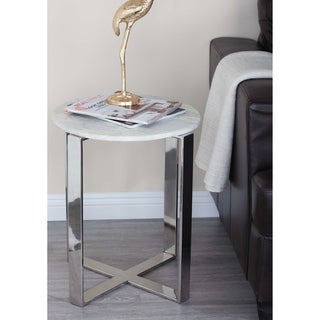 Studio 350 Stainless Steel Marble End Table 18 inches wide, 21 inches high