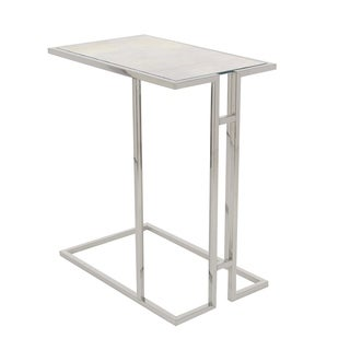 Studio 350 Stainless Steel Marble Side Table 19 inches wide, 26 inches high