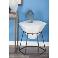Studio 350 Wood Metal Hex Accent Table 22 inches wide, 24 inches high
