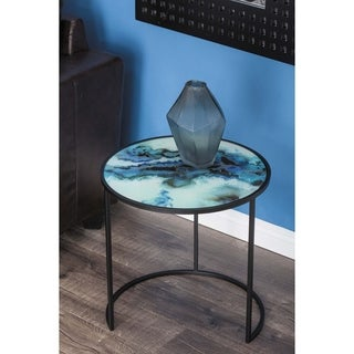 Studio 350 Metal Glass Accent Table Set of 2, 18 inches, 20 inches high