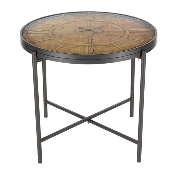 Studio 350 Metal Wood Clock Table 25 inches wide, 21 inches high