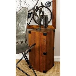 Set of 5 Rustic Rectangular Brown Wooden Plank Pedestals by Studio 350