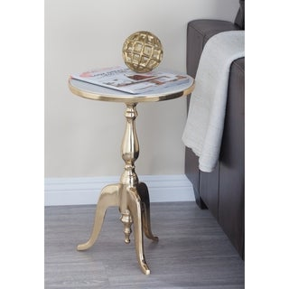 Rusitc 22 x 15 Inch Gold and Gray Round Accent Table by Studio 350