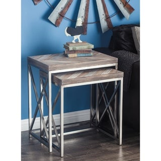 Studio 350 Metal Wood Nest Table Set of 2, 23 inches, 26 inches high