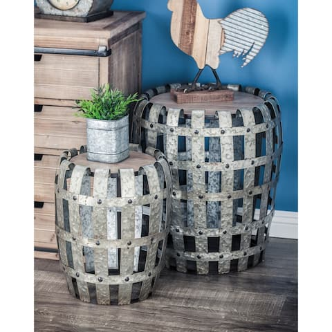 Set of 2 Farmhouse Barrel-Shaped Galvanized Accent Table by Studio 350