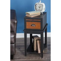 Studio 350 Wood Black Side Table 13 inches wide, 26 inches high