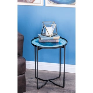 Studio 350 Metal Glass Accent Table 16 inches wide, 19 inches high