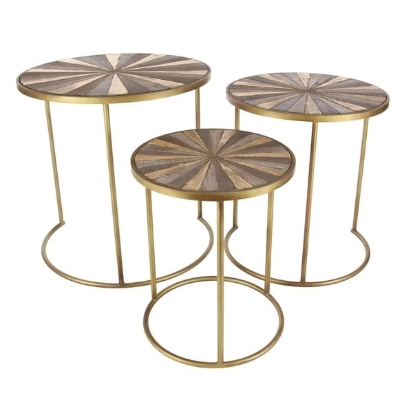 Studio 350 Metal Wood Accent Table Set of 3, 19 inches ,21 inches ,23 inches high