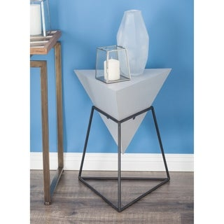 studio 350 wood metal triangle table 20 inches wide 24 inches high
