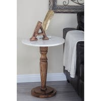 Studio 350 Wood Marble Accent Table 18 inches wide, 23 inches high