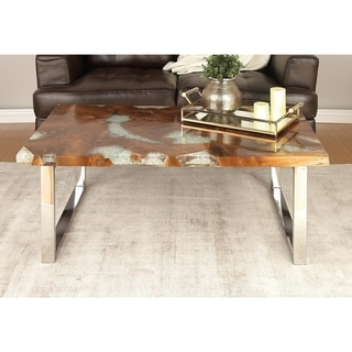 Studio 350 Stainless Steel Teak Resin Coffee Table 47 inches wide, 18 inches high