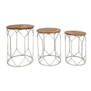 Studio 350 Stainless Steel Wood Table Set of 3, 20 inches, 22 inches ,25 inches high