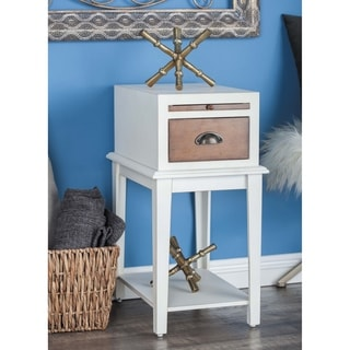 Studio 350 Wood White Side Table 13 inches wide, 26 inches high