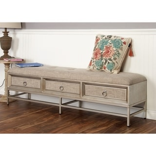 Modern Metal and Wood Upholstered Storage Bench by Studio 350