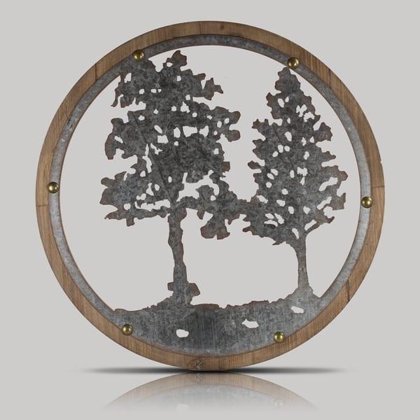 American Art Decor Wood And Galvanized Metal Tree Round