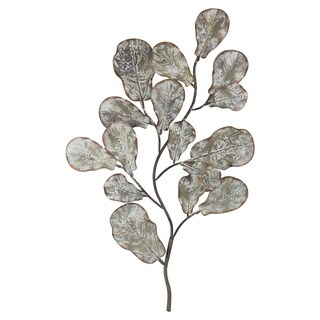 Silver Tree Branch Leaves Metal Art Wall Decor