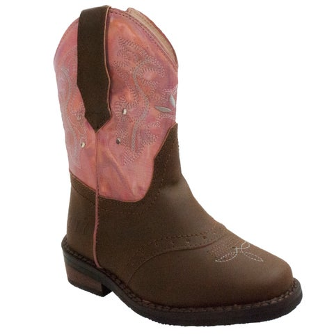 Toddler's Western Light Up Boot Brown/Pink