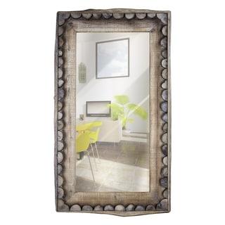 American Art Decor Scalloped Wood Rectangular Wall Mirror Farmhouse - Multi - A/N