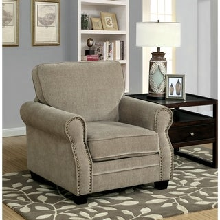 Furniture of America Balerina Transitional Brown Chenille Club Chair