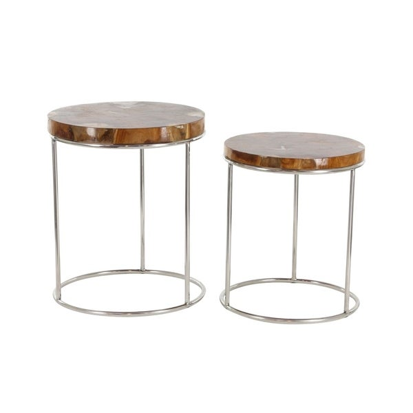 Studio 350 Teak Stainless Steel Side Table Set of 2, 21 inches, 24 inches high