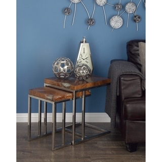 Studio 350 Teak Stainless Steel Side Table Set of 2, 19 inches, 22 inches high