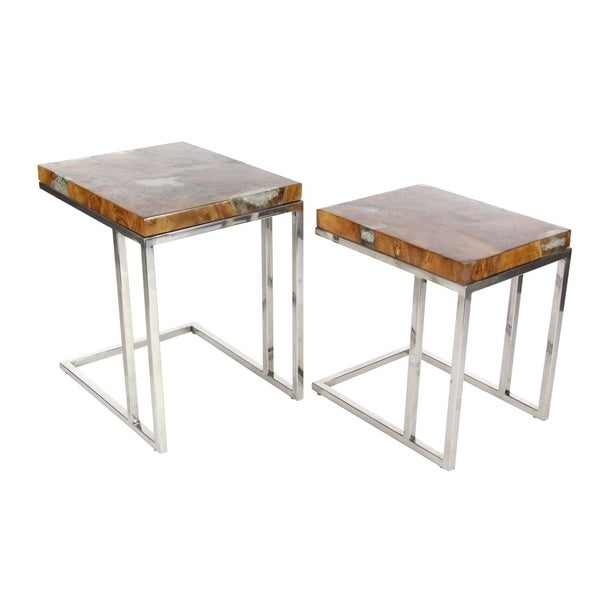Studio 350 Teak Stainless Steel Side Table Set Of 2, 19 Inches, 22 Inches