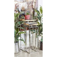 Studio 350 Stainless Steel Stone Pedestal Set of 2, 34 inches, 40 inches high