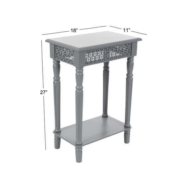 Farmhouse 27 Inch Rectangular Gray Wooden Side Table by Studio 350