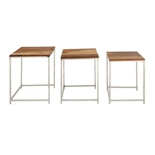 Studio 350 Wood Stainless Steel Nest Table Set of 3, 18 inches ,20 inches ,21 inches high