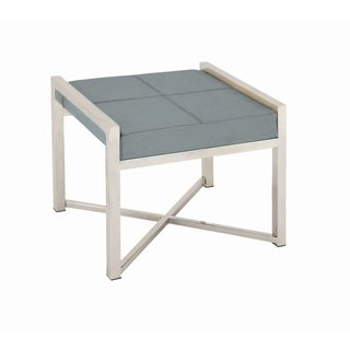 Studio 350 Stainless Steel Gray Leather Stool 22 inches wide, 18 inches high