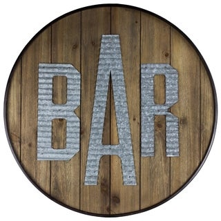 Round Rustic Wood Bar Sign