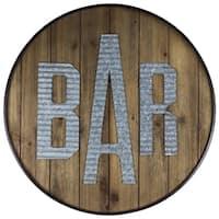 American Art Decor Round Rustic Wood Bar Sign