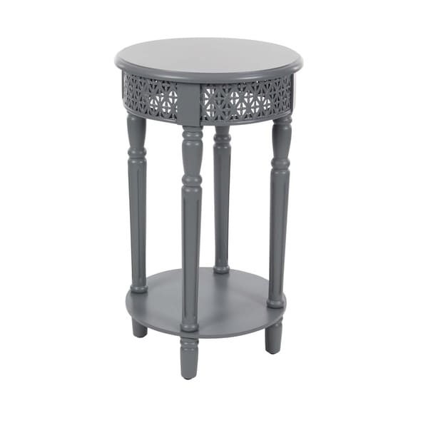 Studio 350 Wood Grey Side Table 15 Inches Wide, 27 Inches High