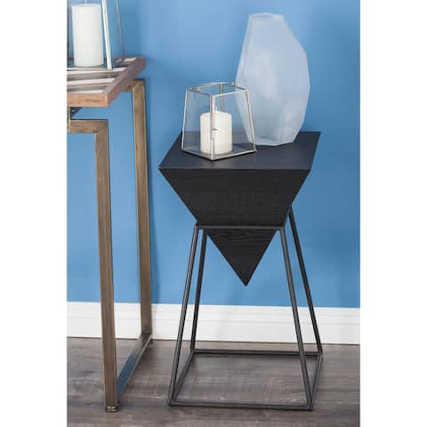 Modern 24 x 14 Inch Black Iron and Wood Accent Table by Studio 350