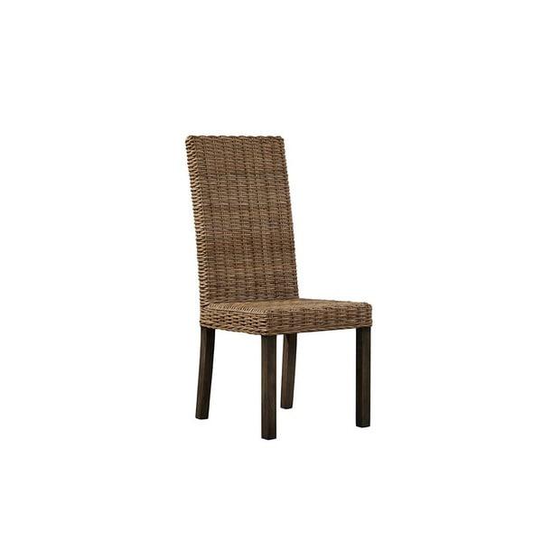 Tahoma Brown Kubu Rattan Parsons Chair (Set Of 2)