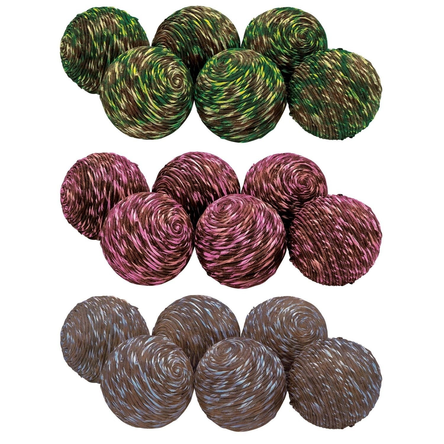 Studio 350 Dried Sola Ball Set of 3, 4 inches D, Green