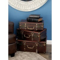 Studio 350 Wood Leather Case Set of 3, 18 inches, 21 inches, 23 inches wide