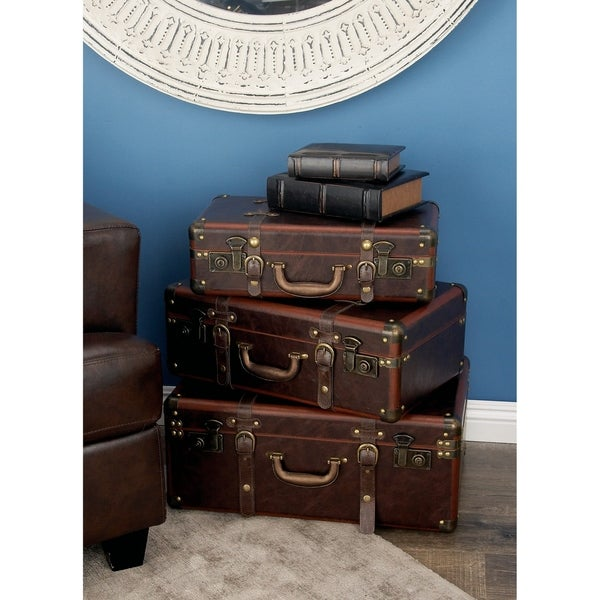 Set of 3 Farmhouse Wood and Leather Vintage Suitcases by Studio 350