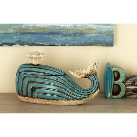 Studio 350 Ceramic Whale Jar 12 inches wide, 7 inches high